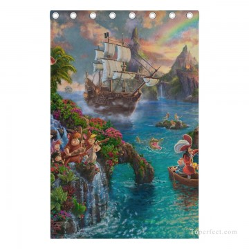 Personalized Curtain for Door Window Draperies Thick Blackout 2 Panels Wall Art Hanging Disney Peter Pan Never Land USD55 5 3 Oil Paintings
